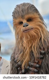 "CANNES, FRANCE. May 15, 2018: Chewbacca at the photocall for ""Solo: A Star Wars Story"" at the 71st Festival de Cannes"