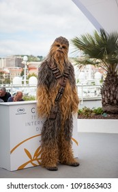CANNES, FRANCE - MAY 15,  2018: Chewbacca attend 'Solo: A Star Wars Story' Photocall during the 71st annual Cannes Film Festival