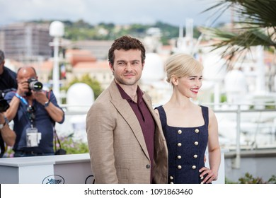 CANNES, FRANCE - MAY 15,  2018: Alden Ehrenreich and Emilia Clarke attend attend the photocall for 'Solo: A Star Wars Story' during the 71st annual Cannes Film Festival
