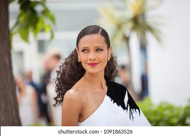 CANNES, FRANCE - MAY 15,  2018: Thandie Newton attends the photocall for 'Solo: A Star Wars Story' during the 71st annual Cannes Film Festival at Palais des Festivals