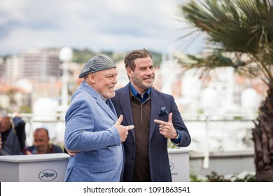 CANNES, FRANCE - MAY 15,  2018: Actor Stacy Keach and US actor John Travolta attend the photocall for the 'Rendezvous With John Travolta - Gotti' during the 71st annual Cannes Film Festival