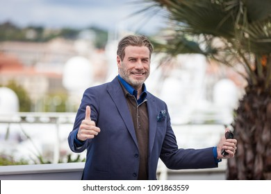 CANNES, FRANCE - MAY 15,  2018:  John Travolta attends the photocall for the 'Rendezvous With John Travolta - Gotti' during the 71st annual Cannes Film Festival