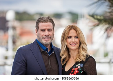 CANNES, FRANCE - MAY 15,  2018: John Travolta and Kelly Preston attend the photocall for the 'Gotti' during the 71st annual Cannes Film Festival