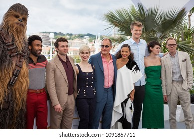 CANNES, FRANCE - MAY 15,  2018: Donald Glover, Alden Ehrenreich, Emilia Clarke, Woody Harrelson, Thandie Newton and Joonas Suotamo on photocall for 'Solo: A Star Wars Story'  Cannes Film Festival