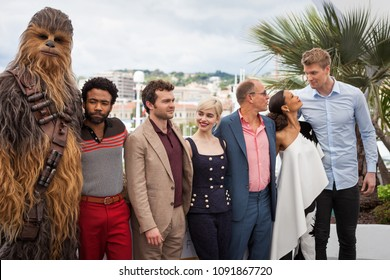 CANNES, FRANCE - MAY 15,  2018: Donald Glover, Alden Ehrenreich, Emilia Clarke, Woody Harrelson, Thandie Newton and Joonas Suotamo on photocall for 'Solo: A Star Wars Story' on 71 Cannes Film Festival