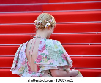 "CANNES, FRANCE. May 15, 2019: Elle Fanning at the gala premiere for ""Les Miserables"" at the Festival de Cannes.