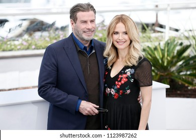 CANNES, FRANCE - MAY 15:  John Travolta and Kelly Preston attend the photo-call of the movie 'Gotti' during the 71st Cannes Film Festival on May 15, 2018 in Cannes, France.