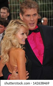 "CANNES, FRANCE - MAY 16, 2013: David Hasselhoff & Hayley Roberts at the gala premiere of ""Young & Beautiful"" (""Jeune & Jolie"") in competition at the 66th Festival de Cannes."