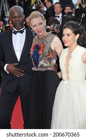"CANNES, FRANCE - MAY 16, 2014: Cate Blanchett, America Ferrera & Djimon Hounsou at the gala premiere of their movie ""How To Train Your Dragon 2"" at the 67th Festival de Cannes."