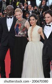 "CANNES, FRANCE - MAY 16, 2014: Cate Blanchett, America Ferrera, Djimon Hounsou & Kit Harington at the gala premiere of their movie ""How To Train Your Dragon 2"" at the 67th Festival de Cannes."