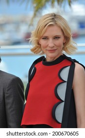 """CANNES, FRANCE - MAY 16, 2014: Cate Blanchett at the photocall for her movie """"How to Train Your Dragon 2"""" at the 67th Festival de Cannes."""