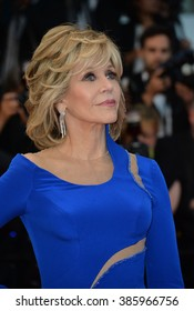 """CANNES, FRANCE - MAY 16, 2015: Jane Fonda at the gala premiere of """"The Sea of Trees"""" at the 68th Festival de Cannes."""