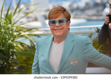 "CANNES, FRANCE. May 16, 2019: Elton John at the photocall for the ""Rocketman"" at the 72nd Festival de Cannes.