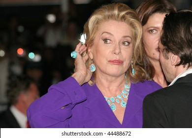 CANNES, FRANCE - MAY 16: Actress Catherine Deneuve attends the 'Un Conte de Noel' premiere at the Palais des Festivals during the 61st Cannes  Film Festival on May 16, 2008 in Cannes, France