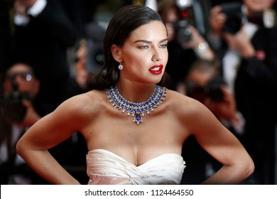 CANNES, FRANCE - MAY 16: Adriana Lima attends the screening of 'Burning' during the 71st Cannes Film Festival on May 16, 2018 in Cannes, France.
