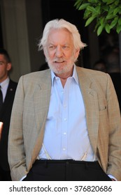 """CANNES, FRANCE - MAY 17, 2014: Donald Sutherland at photo call for his movie """"The Hunger Games: Mockingjay - Part 1"""" at the 67th Festival de Cannes."""