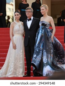 """CANNES, FRANCE - MAY 17, 2015: Cate Blanchett, Rooney Mara & director Todd Haynes at the gala premiere of their movie """"Carol"""" at the 68th Festival de Cannes."""