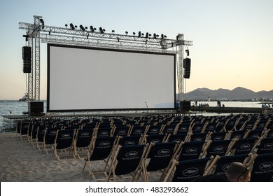 CANNES, FRANCE - MAY 17, 2015: Outdoor cinema at the beach in Cannes, France