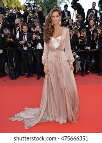 """CANNES, FRANCE - MAY 17, 2016: Model Izabel Goulart at the gala premiere of Pedro Almodovar's """"Julieta"""" at the 69th Festival de Cannes."""