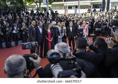 CANNES, FRANCE - MAY 17, 2017: Jury members attend the 'Ismael's Ghosts (Les Fantomes d'Ismael)' screening and Opening Gala during the 70th annual Cannes Film Festival