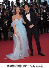 """CANNES, FRANCE. May 17, 2017: Adrien Brody & Lara Lieto at the premiere for """"Ismael's Ghosts"""" at the opening ceremony of the 70th Festival de Cannes"""