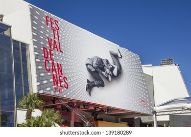 CANNES, FRANCE - MAY 17: The Palais des Festivals prepared for the 66th Cannes Film Festival ceremony on May 17, 2013 in Cannes, France. In 2013, the event takes place from May 15 to May 26.