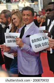"CANNES, FRANCE - MAY 18, 2014: Sylvester Stallone promotiing his new movie ""The Expendable 3"" at the 67th Festival de Cannes."