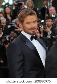 """CANNES, FRANCE - MAY 18, 2014: Kellan Lutz promotiing his new movie """"The Expendable 3"""" at the 67th Festival de Cannes."""
