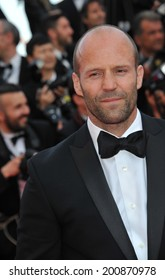 """CANNES, FRANCE - MAY 18, 2014: Jason Statham promotiing his new movie """"The Expendable 3"""" at the 67th Festival de Cannes."""