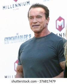 """CANNES, FRANCE - MAY 18, 2014: Arnold Schwarzenegger at the photocall for his movie """"The Expendables 3"""" on the Croisette at the 67th Festival de Cannes."""