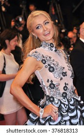 """CANNES, FRANCE - MAY 18, 2014: Paris Hilton at the gala premiere of """"The Rover"""" at the 67th Festival de Cannes."""