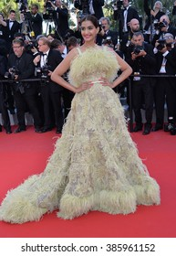 """CANNES, FRANCE - MAY 18, 2015: Sonam Kapoor at the gala premiere of Disney/Pixar's """"Inside Out"""" at the 68th Festival de Cannes."""