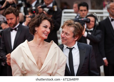 CANNES, FRANCE - MAY 18, 2017: Actress Jeanne Balibar and actor Mathieu Amalric of 'Barbara' attends the 'Loveless (Nelyubov)' screening during the 70th annual Cannes Film Festival