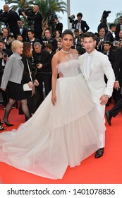 "CANNES, FRANCE. May 18, 2019: Nick Jonas & Priyanka Chopra at the gala premiere for ""The Most Beautiful Years of a Life"" at the Festival de Cannes.