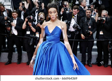 CANNES, FRANCE - MAY 18: Winnie Harlow attends the 'Loveless' premiere during the 70th Cannes Film Festival on May 18, 2017 in Cannes, France.