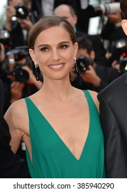 """CANNES, FRANCE - MAY 19, 2015: Natalie Portman at the gala premiere for """"Sicario"""" at the 68th Festival de Cannes."""