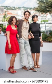 CANNES, FRANCE - MAY 19, 2017: Director Kaouther Ben Hania, Actors Ghanem Zrelli and Mariam Al Ferjani attend 'Alaka Kaf Ifrit (La Belle Et La Meute)' Photocall during the 70th  Cannes Film Festival