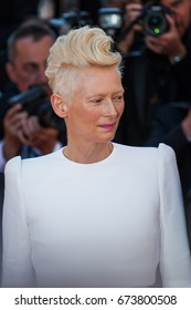 CANNES, FRANCE - MAY 19, 2017:  Tilda Swinton attends the 'Okja' screening during the 70th annual Cannes Film Festival