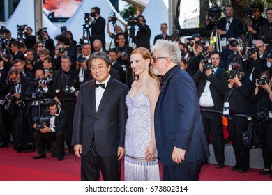 CANNES, FRANCE - MAY 19, 2017: President of the jury Pedro Almodovar and jury members Jessica Chastain, Park Chan-wook attend the 'Okja' screening during the 70th annual Cannes Film Festival