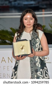 """CANNES, FRANCE. May 19, 2018: Samal Yeslyamova at the photocall for """"Award Winners"""" at the 71st Festival de Cannes"""