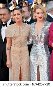 "CANNES, FRANCE. May 19, 2018: Kristen Stewart & Lea Seydoux  at the closing gala screening for ""The Man Who Killed Don Quixote"" at the 71st Festival de Cannes"