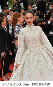 "CANNES, FRANCE. May 19, 2019: Min Pechaya  at the gala premiere for ""A Hidden Life"" at the Festival de Cannes.