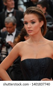 "CANNES, FRANCE. May 19, 2019: Josephine Skriver  at the gala premiere for ""A Hidden Life"" at the Festival de Cannes.
