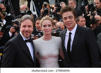 CANNES, FRANCE - MAY 19: Emily Blunt,  Denis Villeneuve  Benicio Del Toro attend the 'Sicario' premiere during the 68th annual Cannes Film Festival on May 19, 2015 in Cannes, France