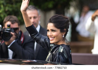 CANNES, FRANCE - MAY 19:indian actress freida pinto  leaves hotel martinez during the 64th Annual Cannes Film Festival on May 19, 2011 in Cannes, France.