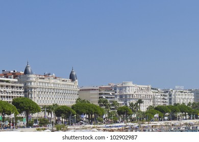 "CANNES, FRANCE - MAY 2: Famous ""La Croisette"" Boulevard and Luxury hotel ""InterContinental Carlton"" Cannes features 343 rooms; Cannes, French Riviera, France, Europe; May 2, 2012"
