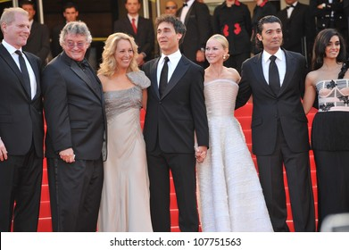 "CANNES, FRANCE - MAY 20, 2010: Noah Emmerich, Joseph Wilson, Valerie Plame Wilson, Doug Liman, Naomi Watts, Khaled Nabawyi & Liraz Charhi at premiere for ""Fair Game"" at the 63rd Festival de Cannes."