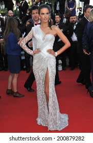 "CANNES, FRANCE - MAY 20, 2014: Brazilian supermodel Alessandra Ambrosio at the gala premiere of ""Two Days, One Night"" at the 67th Festival de Cannes."