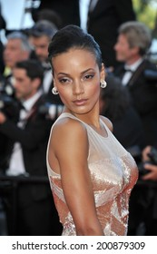 """CANNES, FRANCE - MAY 20, 2014: Selita Ebanks at the gala premiere of """"Two Days, One Night"""" at the 67th Festival de Cannes."""