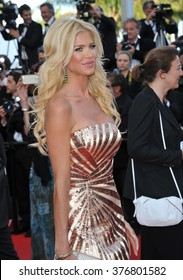 """CANNES, FRANCE - MAY 20, 2014: Victoria Silvstedt at the gala premiere of """"Two Days, One Night"""" at the 67th Festival de Cannes."""